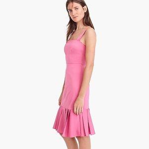 J. Crew Fluted Hem Stretch Faille Pink Dress NWT